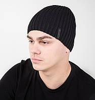 Зимняя вязаная мужская шапка ALEX на флисе - Арт AL17040