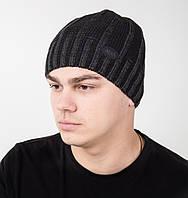Стильная вязаная мужская шапка на флисе - Арт AL17038