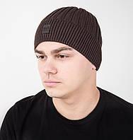 Брендовая зимняя вязаная мужская шапка на флисе - Арт AL17039