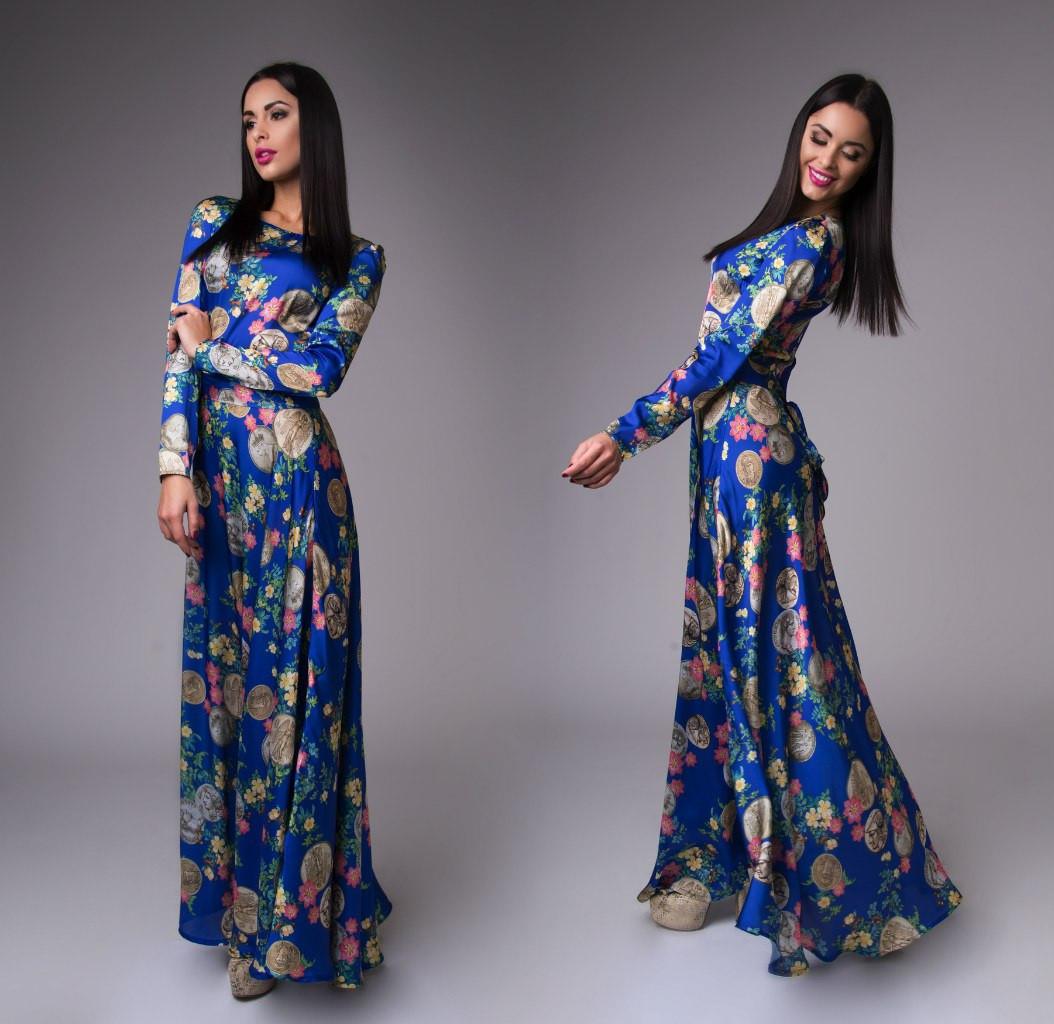 Атласное нарядное платье (4 расцветки)