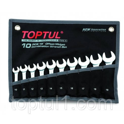 Набор ключей укороченных. 10 шт. 10-19мм GPAF1001 TOPTUL