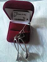 Серебряные серьги Торжество  925 пробы с белыми фианитами родированные