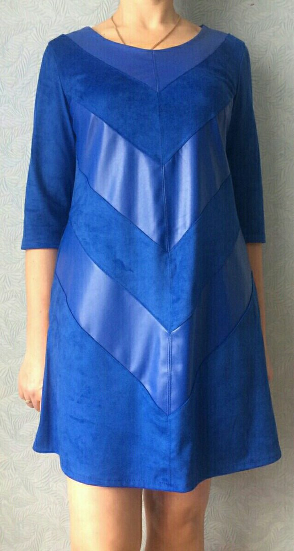 Замшевое  платье комбинированное экокожей