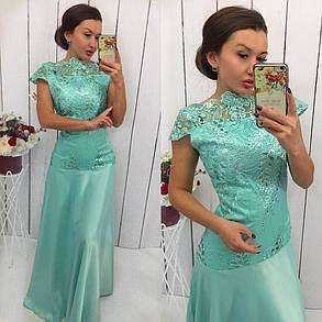 Приталенное платье из кружевной ажурной ткани, фото 2