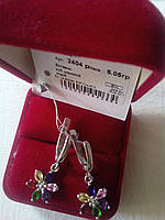 Серебряные серьги Радуга 925 пробы с цветными фианитами родированные
