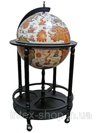 Глобус бар напольный на 4 ножки 420мм беж-черный 42003W-B, фото 2