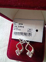 Серебряные серьги 925 пробы с белыми фианитами