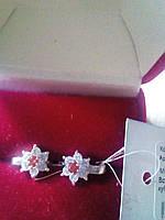 Серебряные серьги Цветики на девочку 925 пробы с красными и белыми фианитами