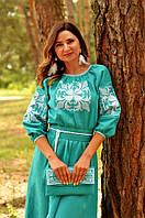 Вышитое платье с длинным рукавом (цвет бирюза)