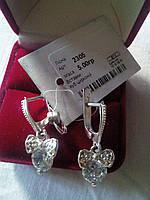 Серебряные серьги Лиона  925 пробы с белыми фианитами