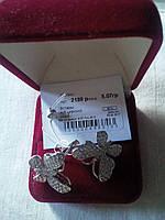 Серебряные серьги Бабочки 925 пробы с белыми фианитами родированные