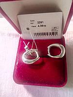 Серебряные серьги Клео 925 пробы на английском замке