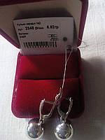 Серебряные серьги Шары  925 пробы с белыми фианитами родированные
