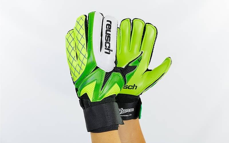 Перчатки вратарские юниорские FB-853B REUSCH (PVC, р-р 5-7, салатовый-зеленый-черный)Z