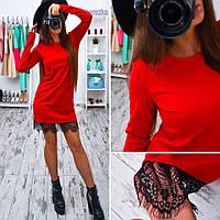 Женское платье мини с кружевом, фото 1