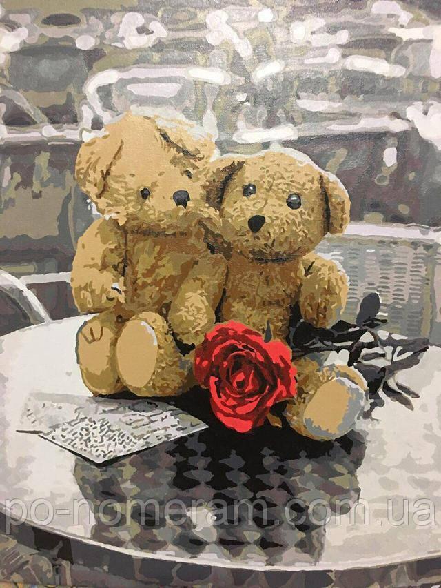 Нарисованная картина Влюбленные Мишки