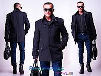 Мужское драповое пальто на пуговицах,короткое