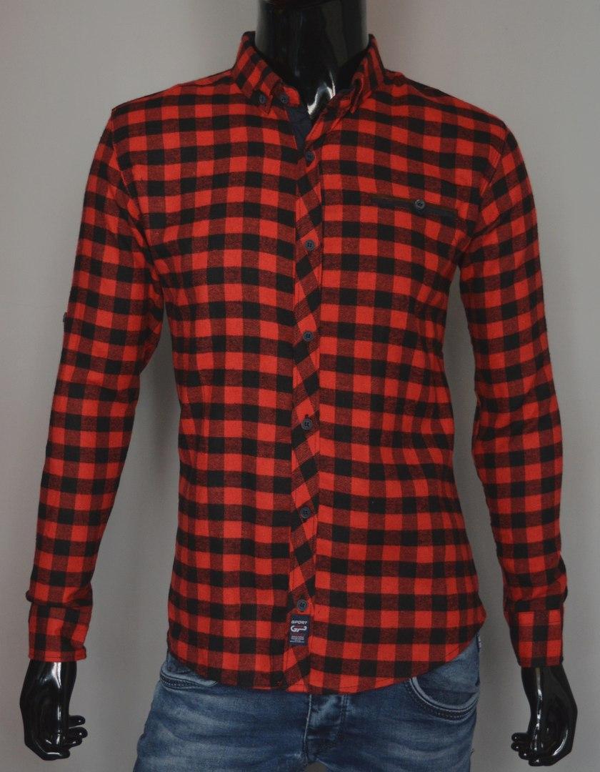 Мужская кашемировая рубашка в клетку красная Турция 5173