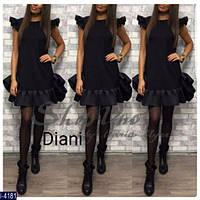 Стильное черное платье с воланами. Джерси+неопрен. Арт-12621