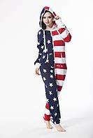 Женский теплый комбинезон с флагом США