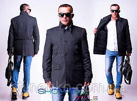 Мужское пальто на пуговицах,короткое,драп