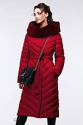 Стильное стеганое длинное пальто приталенного кроя.  44