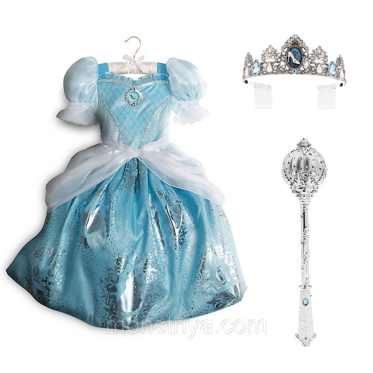 Карнавальный костюм Золушка: платье+ тиара + волшебная палочка со светоэффектами
