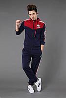 Теплый спортивный костюм на флисе с белыми полосами по бокам, сине-красный