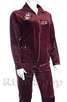 Велюровый женский спортивный костюм однотонный K114 Бордовый, 6XL