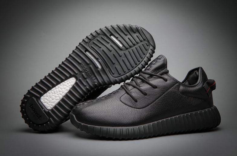Кроссовки мужские Adidas YEEZY 350 BOOST All black Черные кожаные