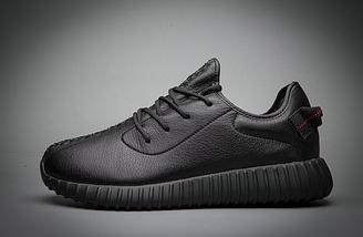Кроссовки мужские Adidas YEEZY 350 BOOST All black Черные кожаные, фото 3