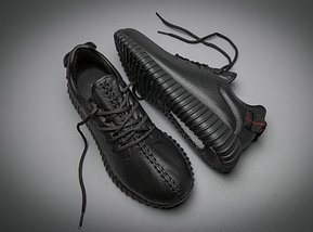 Кроссовки мужские Adidas YEEZY 350 BOOST All black Черные кожаные, фото 2