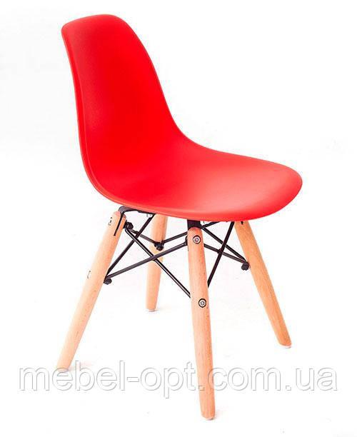 Детский стул AC-0117W Eames DSW Kids красный пластик, дизайн Charles & Ray Eames