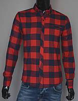 Мужская кашемировая рубашка в клетку красная Турция 5171