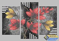 Набор для частичной вышивки бисером - Триптих цветы на ветке, Арт. МКч-014