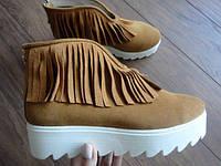 Ботинки осенние (слипоны) женские из натуральной замши с бахромой хаки