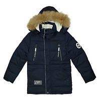 Куртка зимняя на мальчика на холлофайбере ,капюшон-с натуральной опушкой,р.140-164