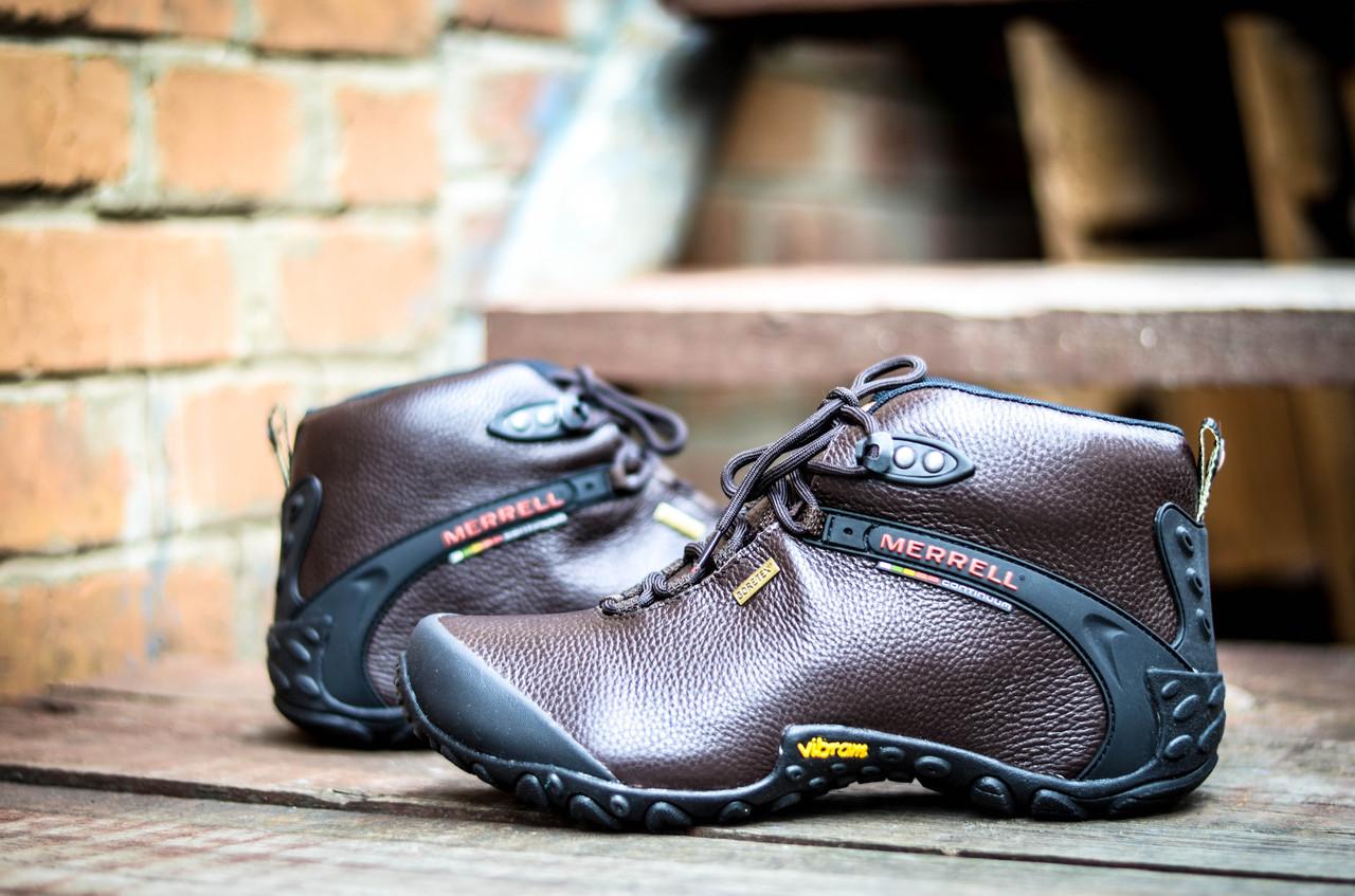 Коричневые кожаные мужские ботинки Merrell vibram кожа зимние