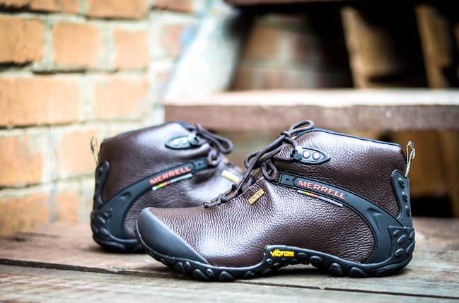 Коричневые кожаные мужские ботинки Merrell vibram кожа зимние, фото 2