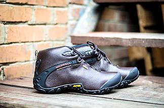 Коричневые кожаные мужские ботинки Merrell vibram кожа зимние, фото 3