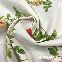 Льняная ткань с цветами 100% лен, цвет 32/1