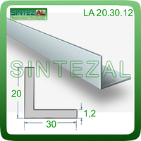 Уголок алюминиевый стандартный 20х30х1,2, Без покрытия