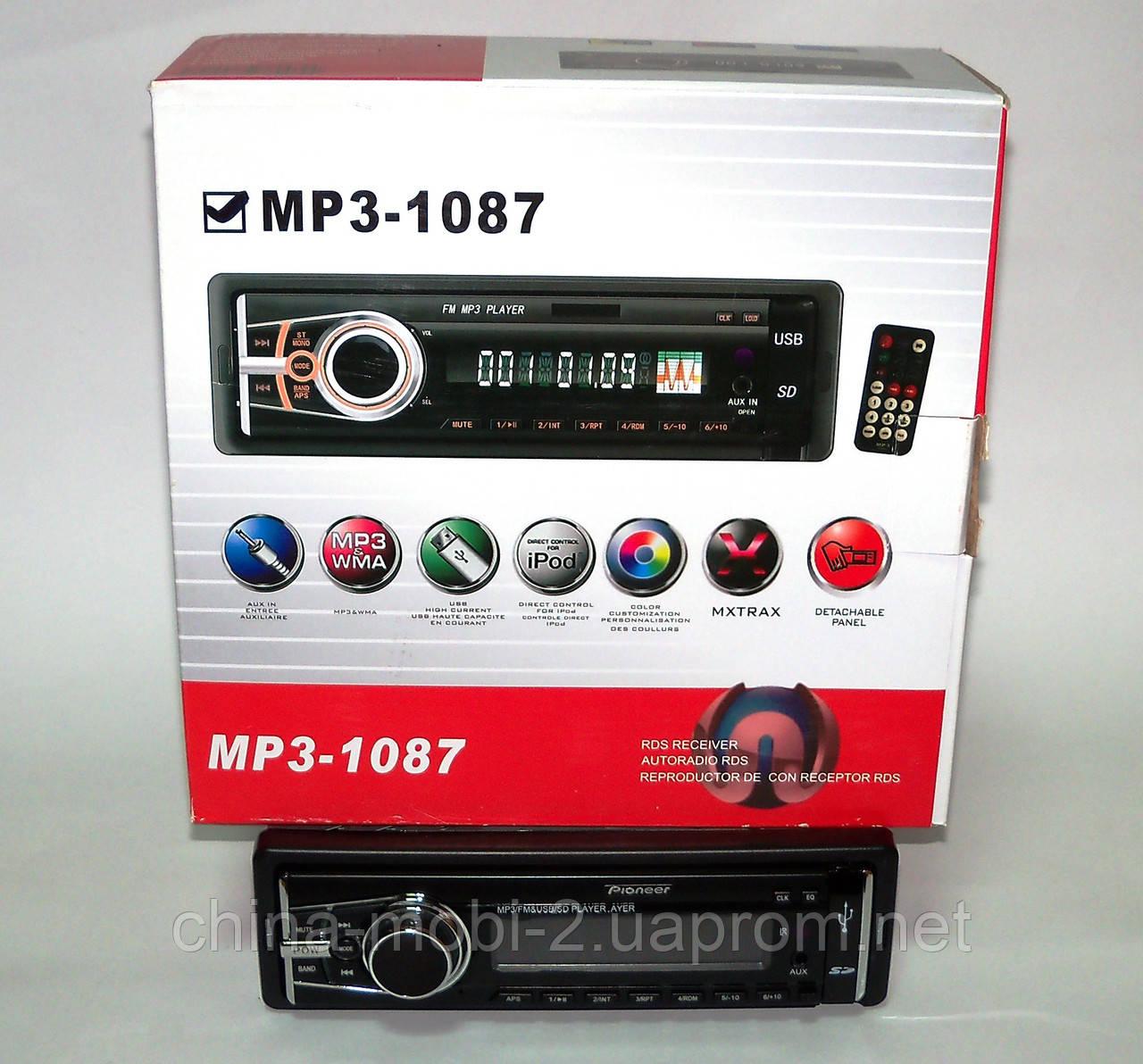 Автомагнитола car mp3 Pioneer MP3-1087 USB SD AUX FM со съемной панелью