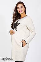 Платье-туника для беременных и кормящих MILANO, бежевый меланж с черным