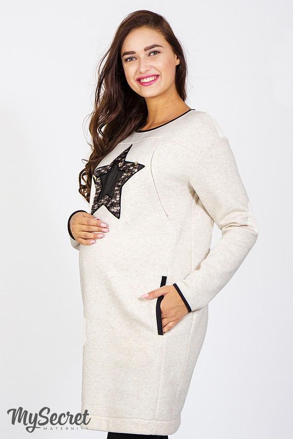 Платье-туника для беременных и кормящих MILANO, бежевый меланж с черным -  Интернет- f6494d2615a