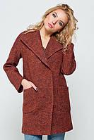 Зимнее пальто «Эйми» вареная шерсть терракотовое