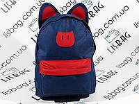 Женский рюкзак в виде котика с ушками, синий
