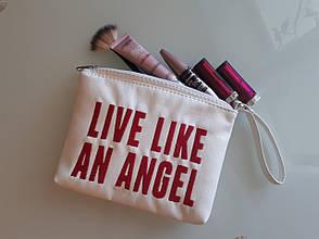 """Косметичка с вышивкой """"Life like an angel"""" №13"""