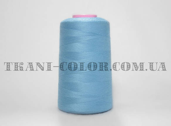 Нитка швейная 40/2 голубая 4000 ярдов, фото 2