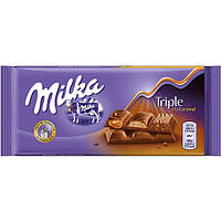 Шоколад MILKA Triple a la Caramel 90г Карамельная трилогия